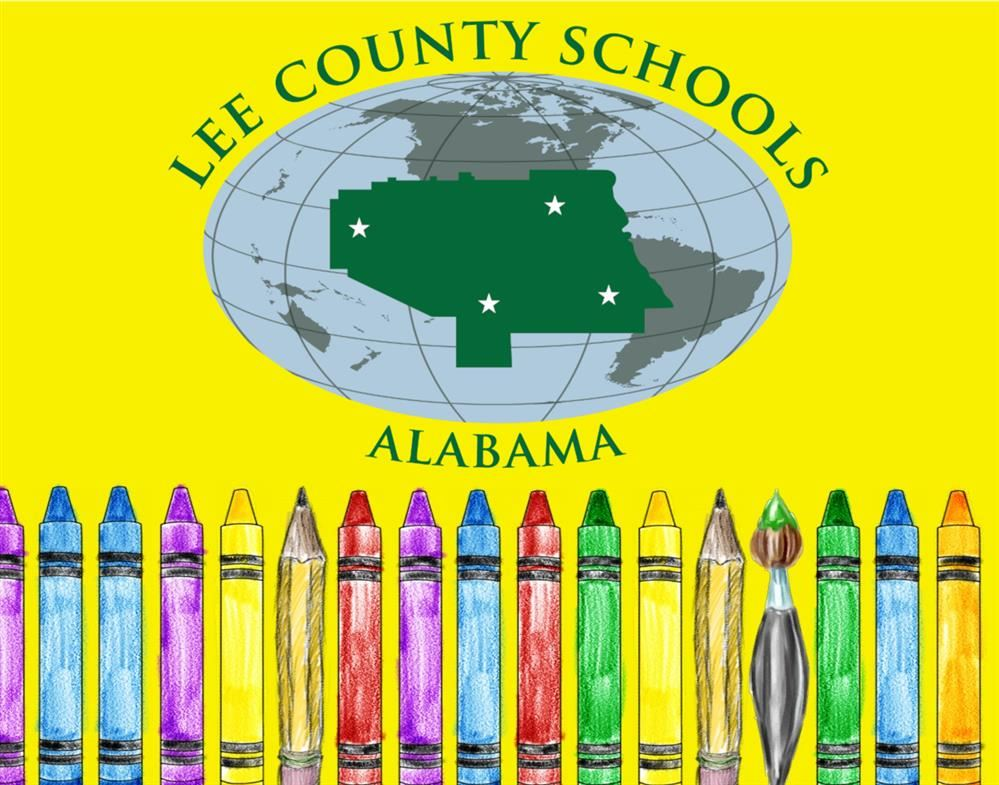 crayons, pencils, and a paintbrush standing against a yellow background with Lee County logo above