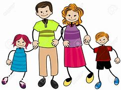 Simple drawing of a family consisting of mother, father, boy and girl.