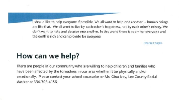 Information on help for families and childrend affected by the tornado