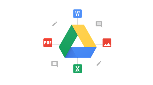 Google Drive logo surrounded by app icons