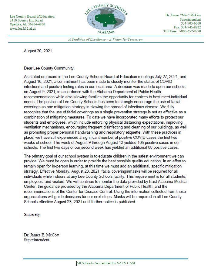 Mask Announcement Letter - 8-20-2021