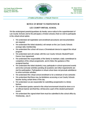 Intent to Participate in Lee County Virtual School