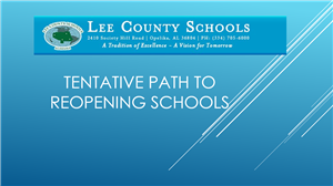 Tentative Path to Reopening Schools Presentation