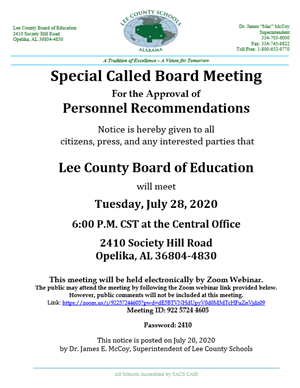 Special Called Board Meeting Announcement