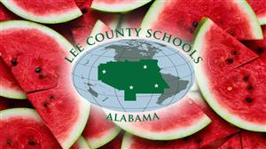 Watermelon Slices with Lee County Schools Logo
