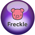 purple bubble with cartoon pig face on it with the word Freckle under the pig's face