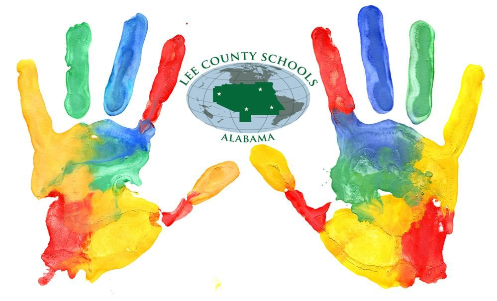 Handprints in paint surrounding the Lee County Logo