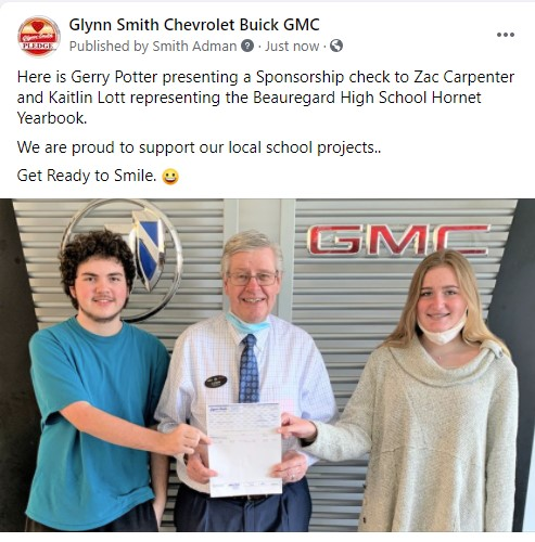 Glynn Smith Chevrolet / Buick / GMC Supports Beauregard High School Yearbook